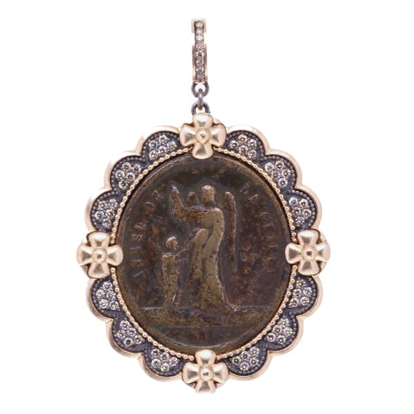 Closeup photo of Spanish Guardian Angel St Joseph Pendant