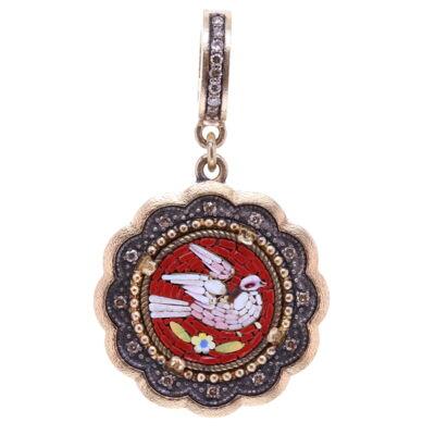 Micro Mosaic Holy Spirit Scalloped Dove Pendant