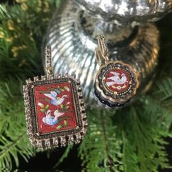 Closeup photo of Red Italian Antique Micro Mosaic Holy Spirit Scalloped Dove Pendant