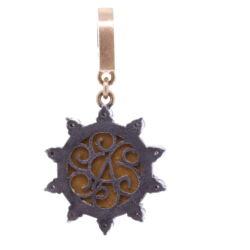 Closeup photo of Blue Italian Micro Mosaic Starburst Floral Pendant