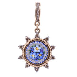 Closeup photo of Blue Italian Micro Mosaic Starburst Floral Pendant