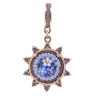 Blue Italian Micro Mosaic Starburst Floral Pendant