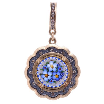 Closeup photo of Micro Mosaic Scalloped Floral Pendant
