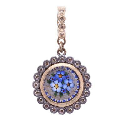 Micro Mosaic Dot Floral Pendant