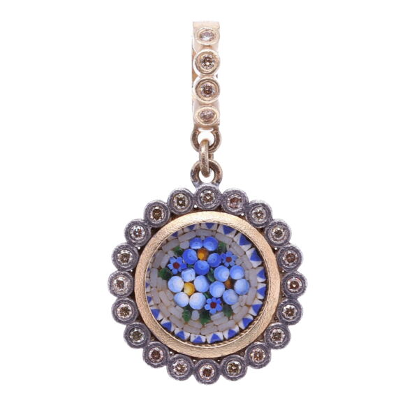 Closeup photo of Blue Italian Micro Mosaic Dot Floral Pendant with Glass Cover