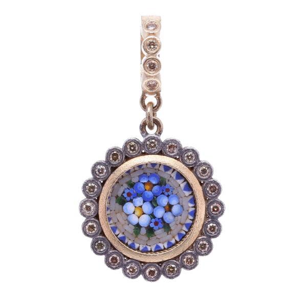 Closeup photo of Micro Mosaic Dot Floral Pendant