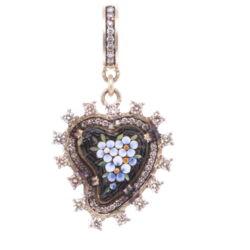 Closeup photo of Black Antique Italian Micro Mosaic Heart Pendant with Blue Flowers