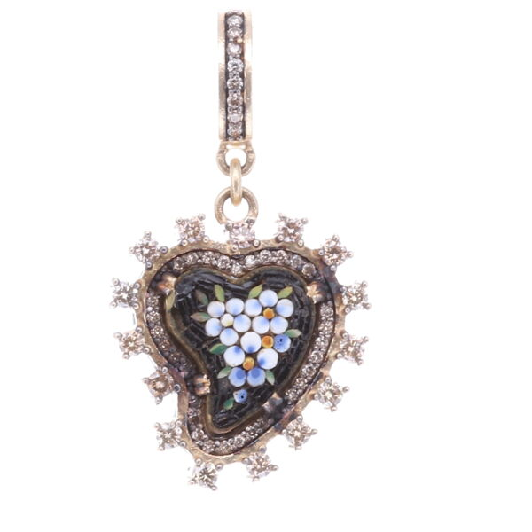 Closeup photo of Black Antique Italian Micro Mosaic Heart Pendant with White Flowers