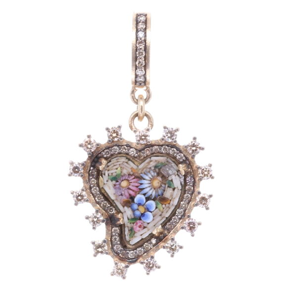 Closeup photo of Taupe Antique Italian Micro Mosaic Heart Pendant with Multi-Colored Flowers