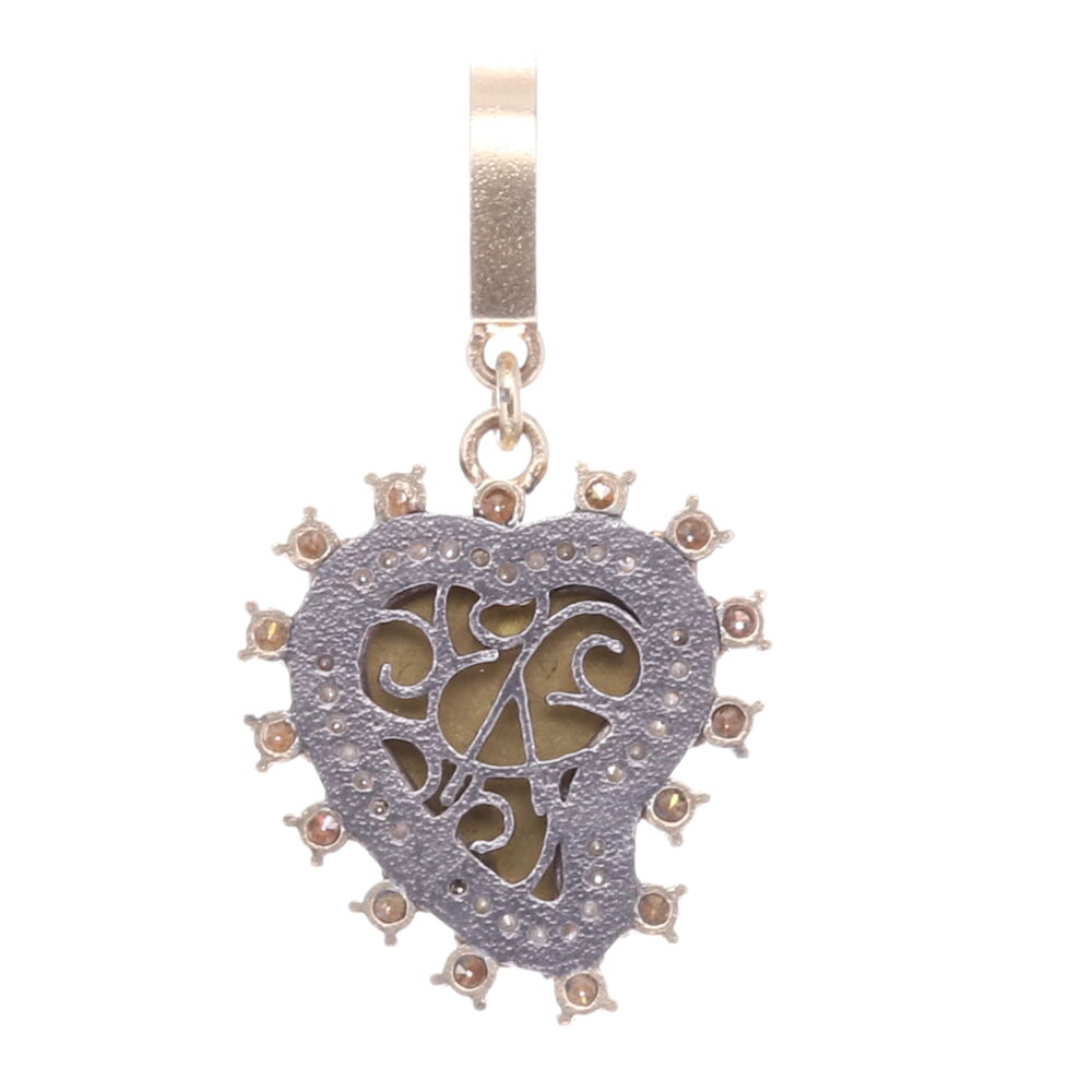 Image 2 for Taupe Antique Italian Micro Mosaic Heart Pendant with Multi-Colored Flowers