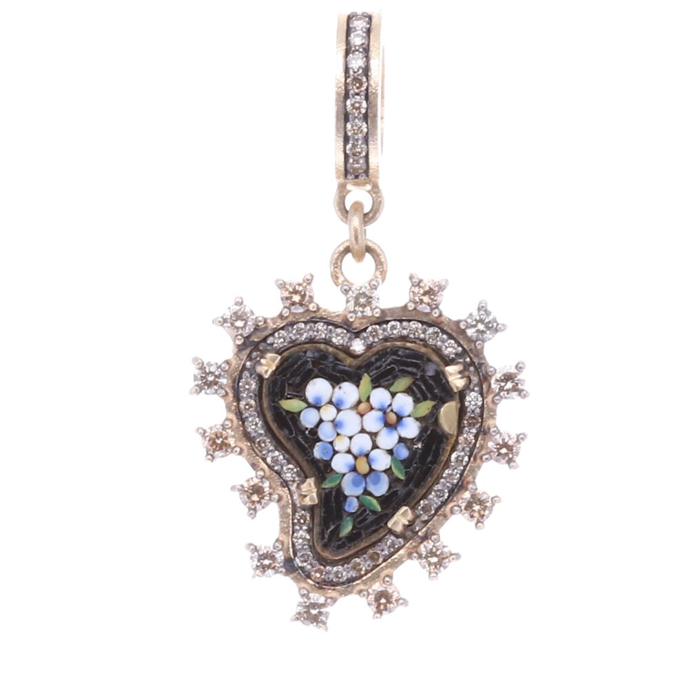 Black Antique Italian Micro Mosaic Heart Pendant with White Flowers