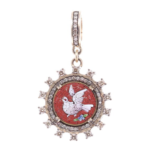 Closeup photo of Red *left facing* Italian Micro Mosaic Holy Spirit Dove Pendant