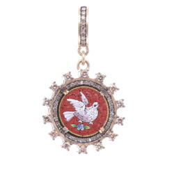 Closeup photo of  Red *right facing* Antique Italian Micro Mosaic Holy Spirit Dove Pendant