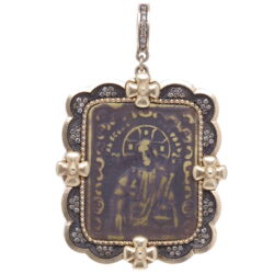 Closeup photo of Antique Russian Resurrection Icon Medal