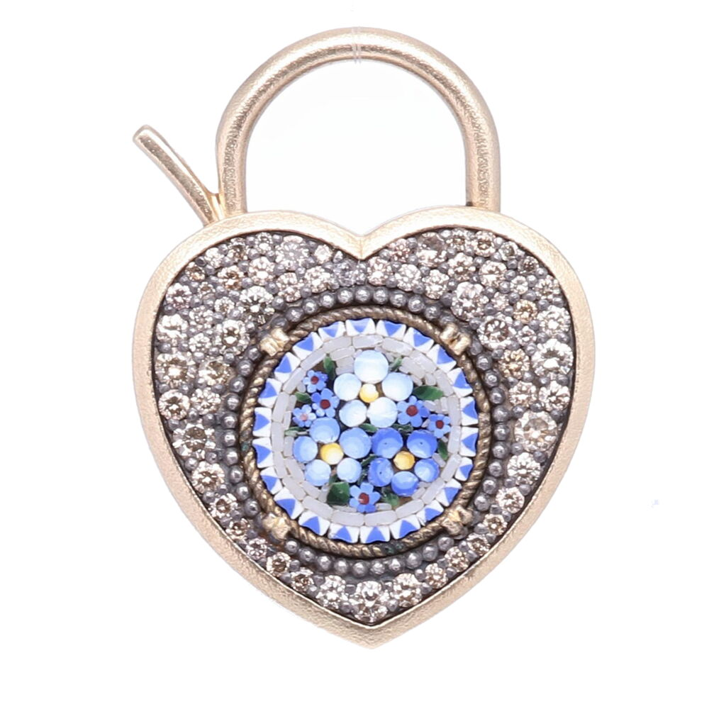 Blue Italian Micro Mosaic Floral Heart Locket Pendant/Charm