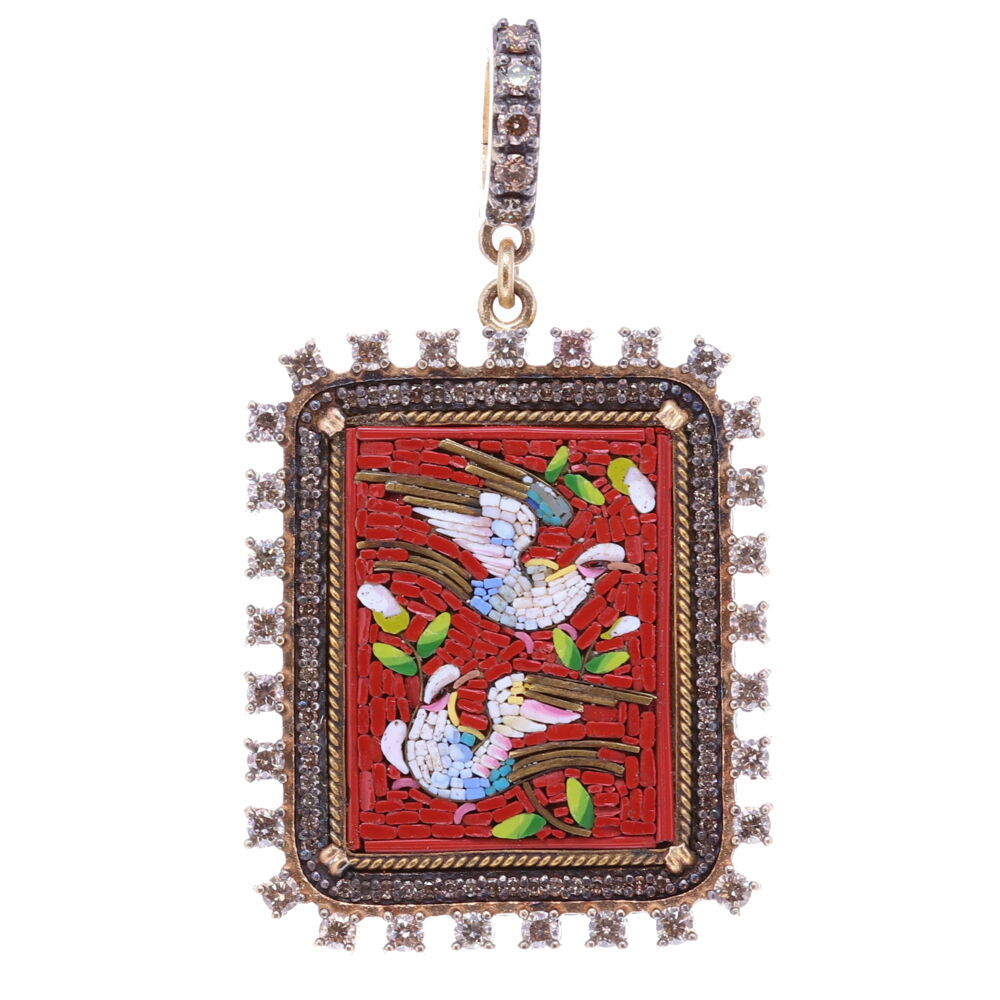 Red PAX Square Italian Antique Micro Mosaic Dove Pendant