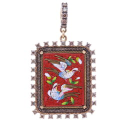 Closeup photo of Red PAX Square Italian Antique Micro Mosaic Dove Pendant