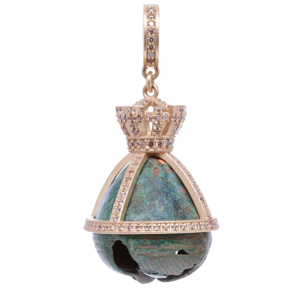 Antique Bronze Church Bell with a Crown Pendant