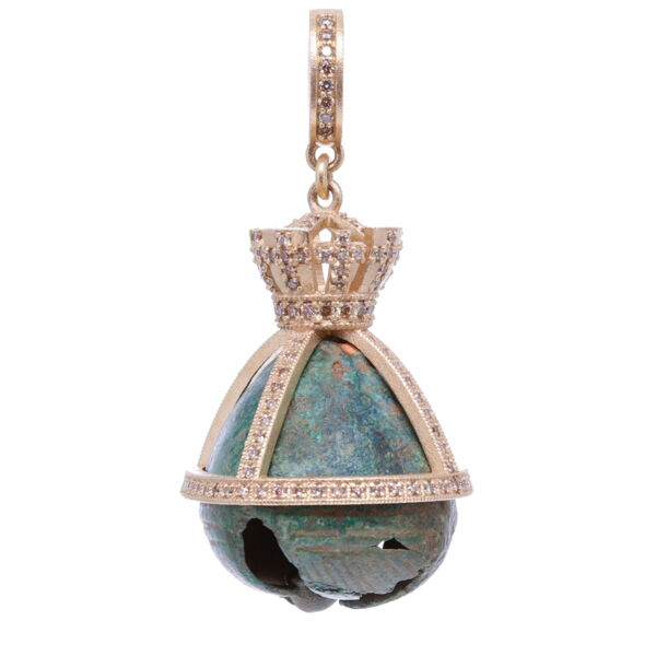 Closeup photo of Antique Bronze Church Bell with a Crown Pendant