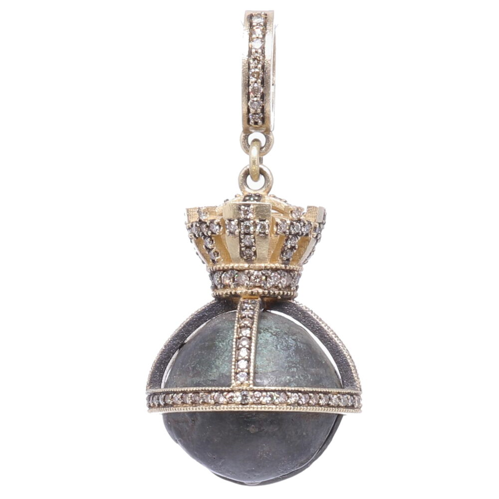 Small Antique Bronze Bell with Crown Pendant