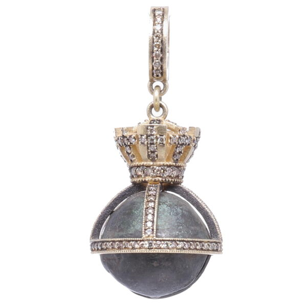 Closeup photo of Small Antique Bronze Bell with Crown Pendant