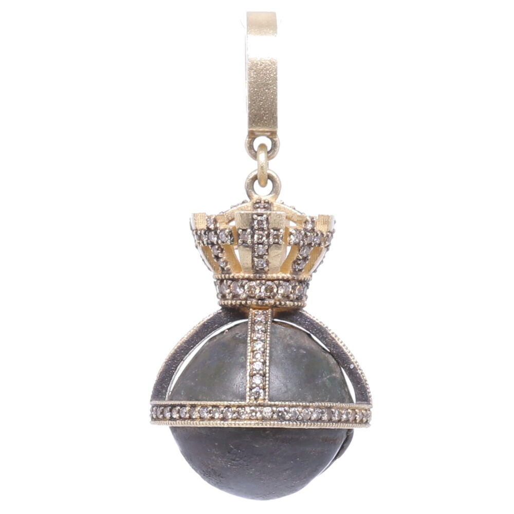 Image 2 for Small Antique Bronze Bell with Crown Pendant