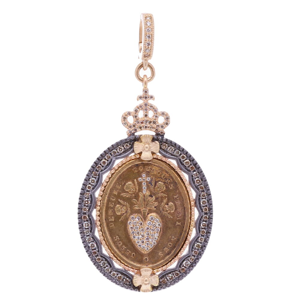 French Sacred Heart with Cherubs Pendant