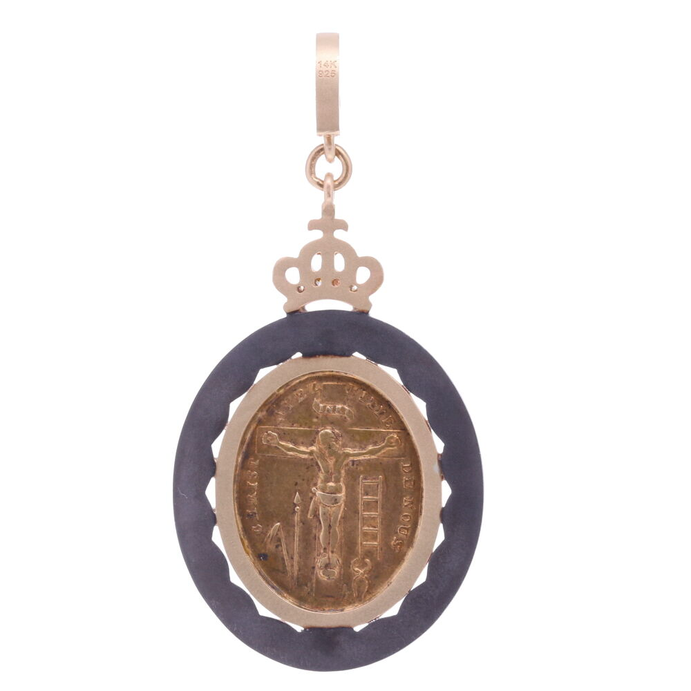 Image 2 for French Sacred Heart with Cherubs Pendant