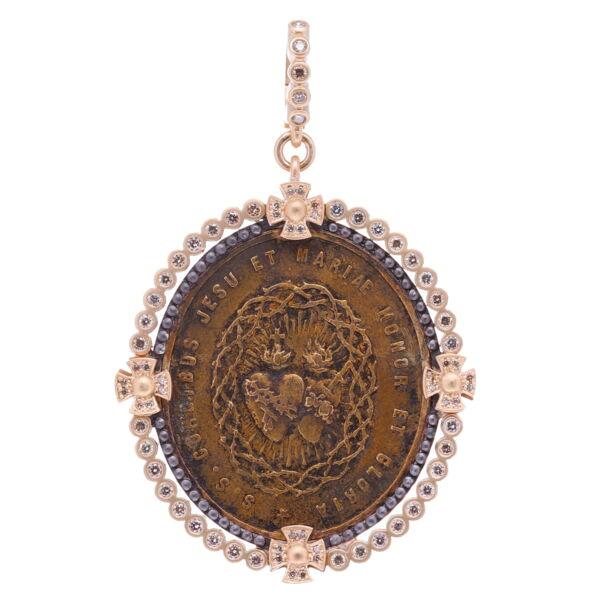 Closeup photo of Latin Sacred Heart Pendant