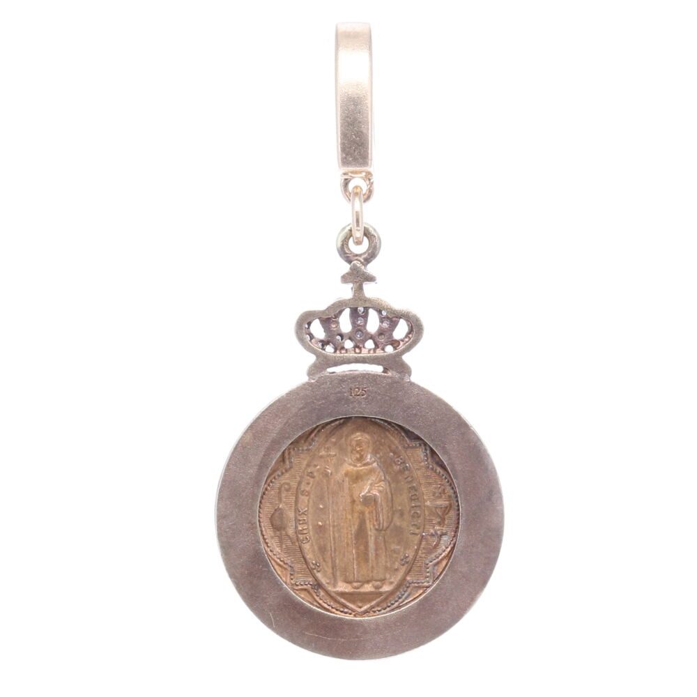 Image 2 for Antique St. Benedict Pendant with Cross Shield Inlay