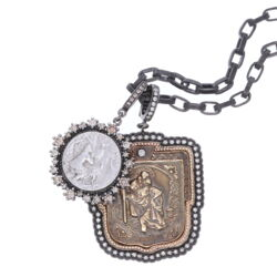 """Closeup photo of Antique St. Christopher """"The Gentle Giant in The River"""" Pendant"""