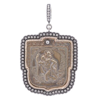 """Antique St. Christopher """"The Gentle Giant in The River"""" Pendant"""
