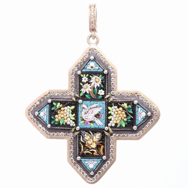 Closeup photo of Blue Antique Italian Micro Mosaic Cross Pendant with Dove, Wheat, Flower, and Grapes