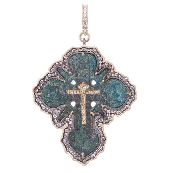 Closeup photo of Antique Bronze Orthodox Cross Pendant