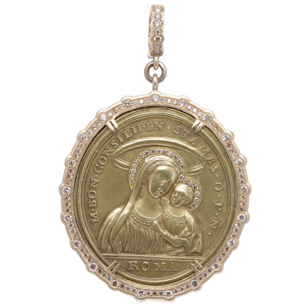 Closeup photo of Latin Mary, Child and Cherub Pendant