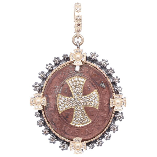 Closeup photo of St. Benedict Diamond Shield Pendant