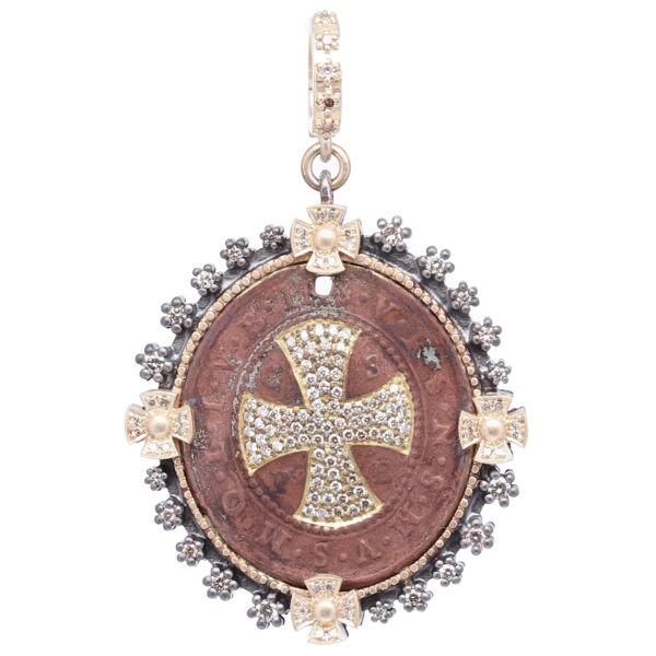 Closeup photo of St. Benedict Shield Pendant
