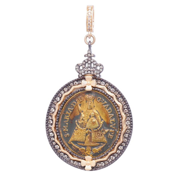Closeup photo of Spanish Our Lady of Guadalupe Pendant