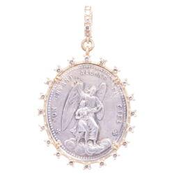 Closeup photo of Silver French Guardian Angel Diamond Pendant