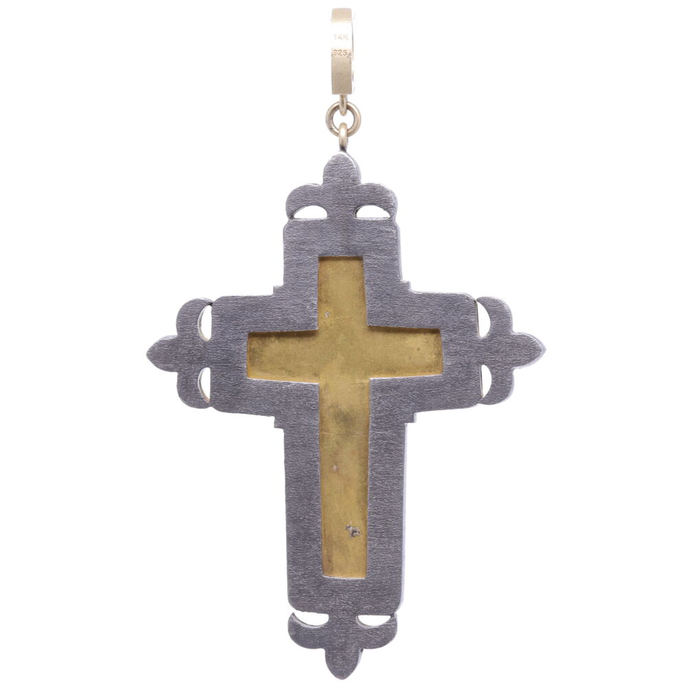 Image 2 for Floral Turquoise Italian Micro Mosaic Grand Tour Cross Pendant