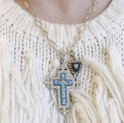 Closeup photo of Floral Turquoise Italian Micro Mosaic Grand Tour Cross Pendant