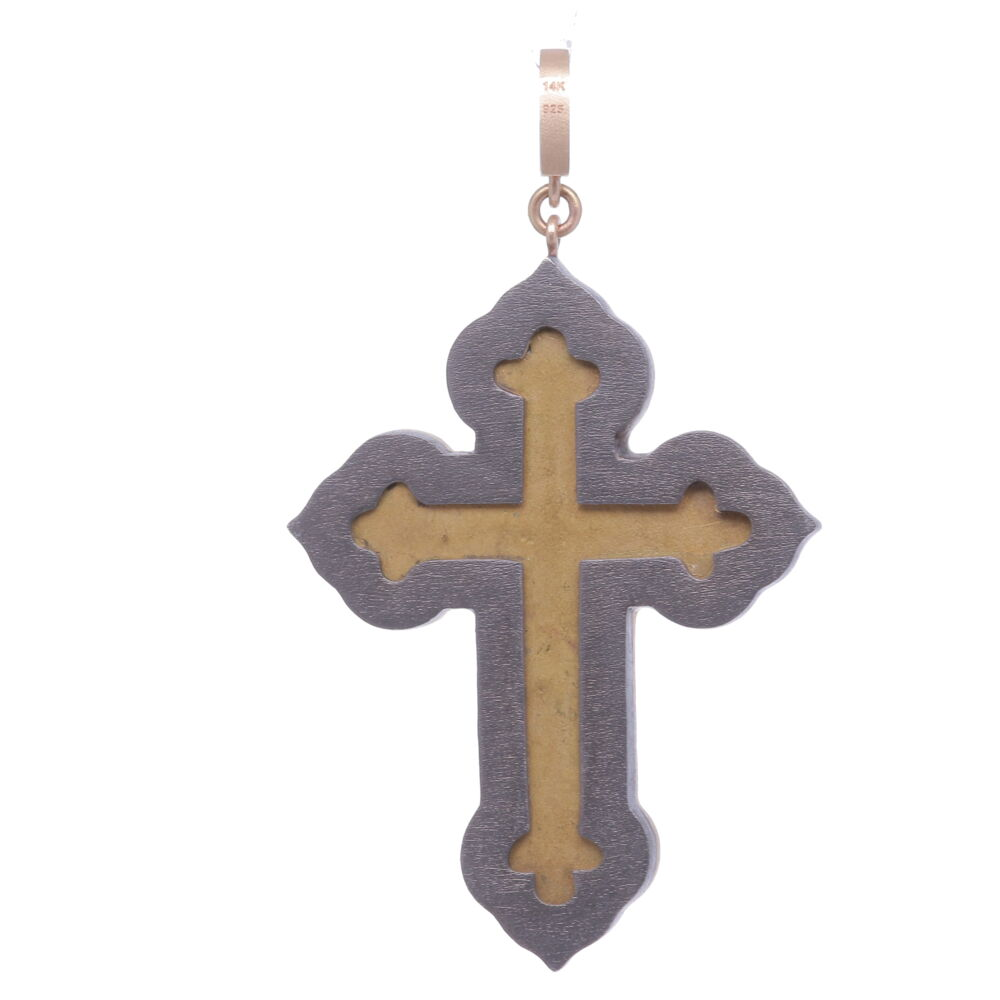 Image 2 for Italian Grand Tour Roma Micro Mosaic Cross Pendant