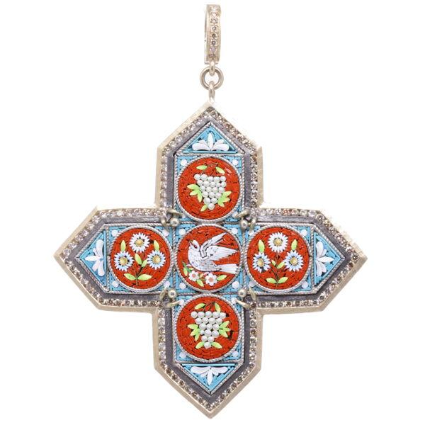 Closeup photo of Italian Grand Tour Micro Mosaic Maltese Cross Holy Spirit Pendant