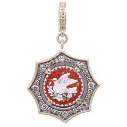 Closeup photo of Italian Grand Tour Micro Mosaic Holy Spirit Dove Pendant