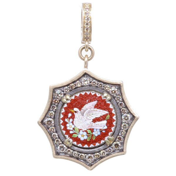 Closeup photo of Italian Grand Tour Micro Mosaic Holy Spirit Dove Pendant