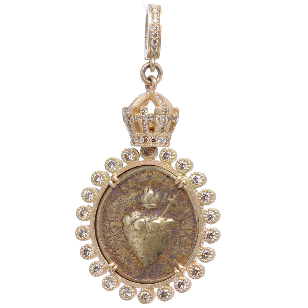 Antique Sacred Heart with Crown Pendant