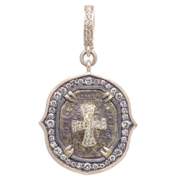 Closeup photo of St. Benedict Cross Shield Pendant