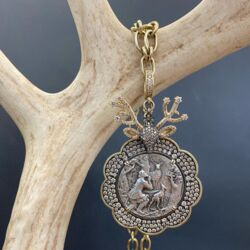 Closeup photo of European St. Hubert Stag with Antlers Pendant