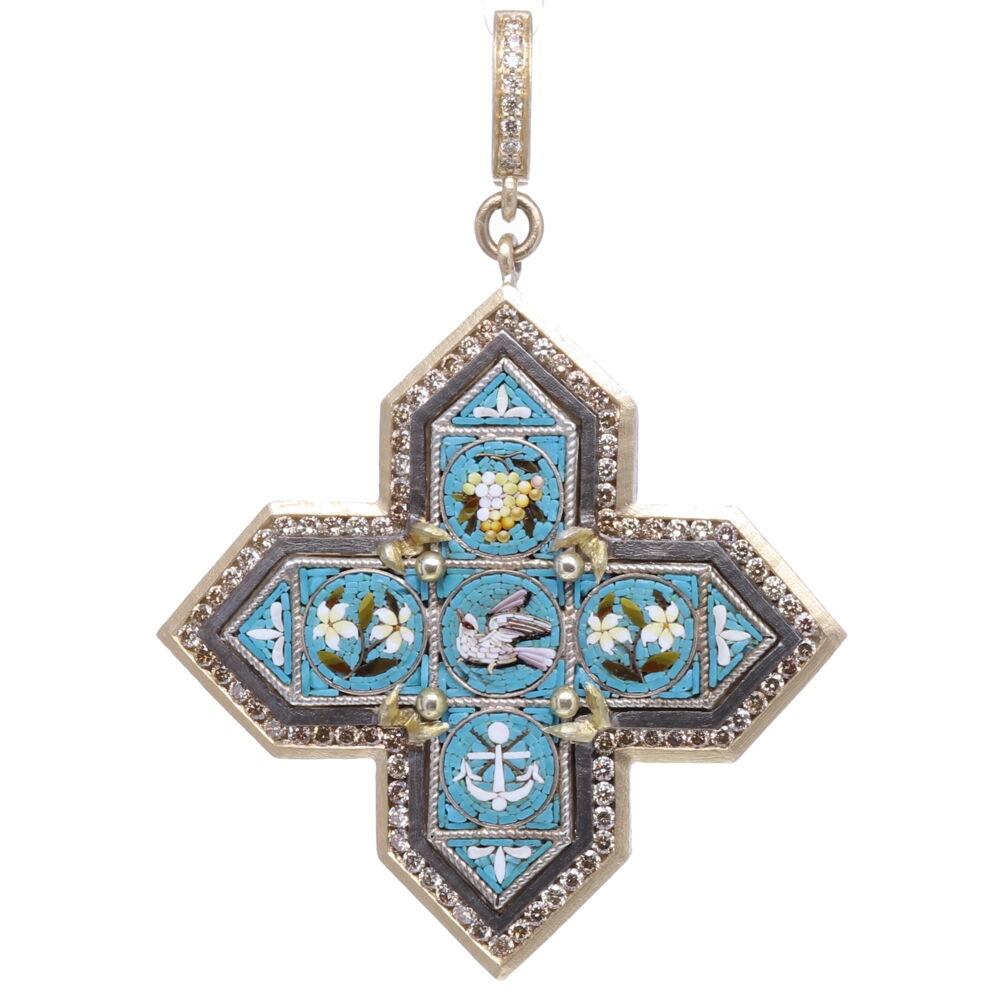 Italian Grand Tour Micro Mosaic Turquoise Maltese Cross Pendant