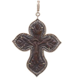 Closeup photo of Antique Russian Crucifix Pendant